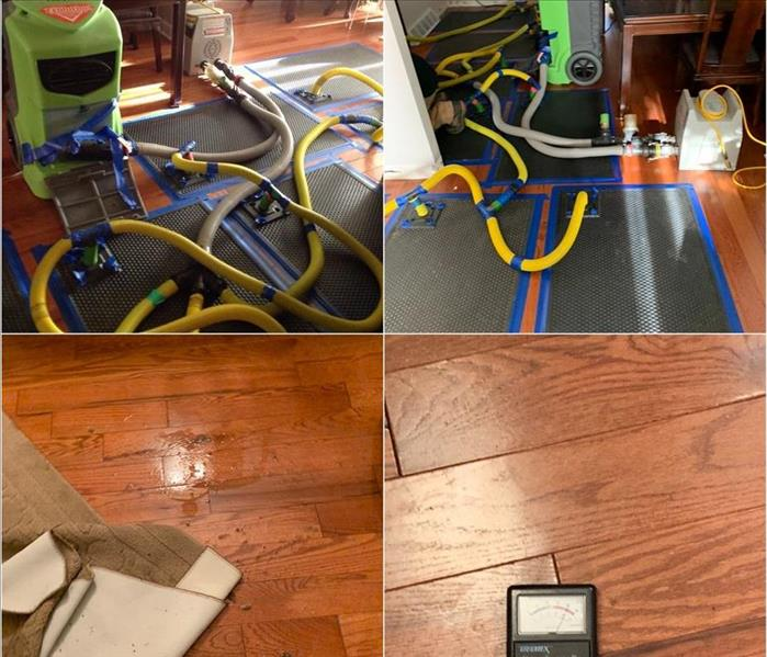 Floor mat drying system on a hardwood floor.
